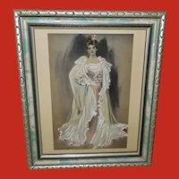 C. Allan Gilbert Vintage Tinted Print of Lady in Pink - 1 of 2