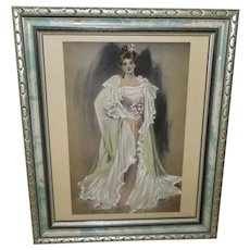 C. Allan Gilbert Vintage Tinted Print of Lady in Pink - 1 of 2