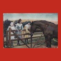 Raphael Tuck 1907 Postcard of Three Girls with Horse