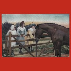 Raphael Tuck 1907 Postcard of Three Girls with Horse