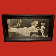 M. Greiner Campbell Art Shadow Box Embossed Print of Woman with Cherub