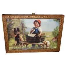 Small Vintage Guillon Print of Young Boy with German Shepherd Dogs