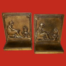 Bradley and Hubbard Cast Iron Bookends Woman and Fire
