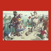 Mainzer Dressed Cat Postcard - Cats on Dock by Water