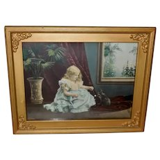 Vintage 1901 Print of Young Girl Playing with Black Cat
