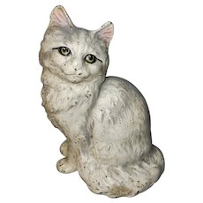 Hubley Signed Cast Iron Persian Cat Doorstop No. 302