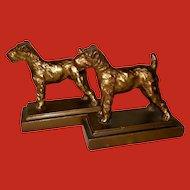 Armor Bronze Pair of Fox Terrier Dog Bookends