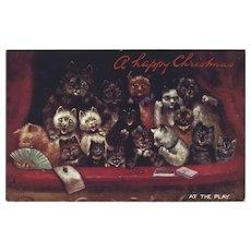 Louis Wain Cats Raphael Tuck Oilette Christmas Postcard
