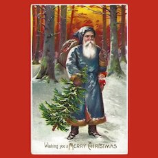 Embossed Merry Christmas Postcard of Santa Claus in Green Suit