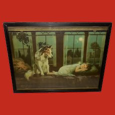 Alfred Guillon Calendar Print of Dog Guarding Sleeping Child