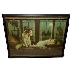 Alfred Guillon Calendar Print of Dog Guarding Sleeping Child