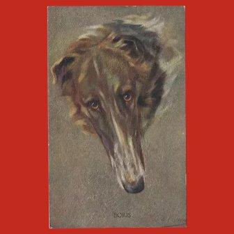 Persis Kirmse Textured Vintage Postcard of Borzoi Dog