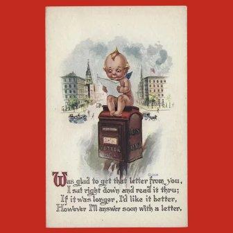 Gartner and Bender Vintage Postcard of Kewpie on Mailbox