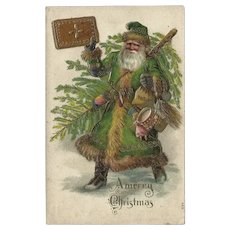 Embossed Chromolithograph Christmas Postcard of Santa in Green Suit
