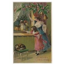 Embossed Vintage Christmas Postcard Santa in Window