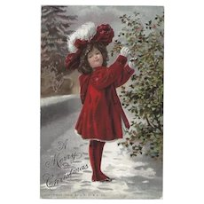 Embossed 1907 Christmas Postcard with Young Girl