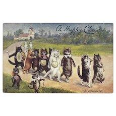 Louis Wain Cats Raphael Tuck Oilette Christmas Wedding Postcard