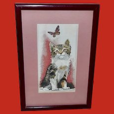 Cash's Woven Silk Picture of Kitten and Butterfly