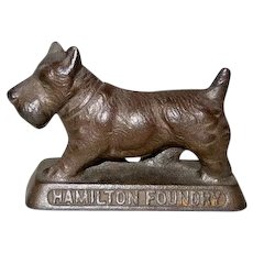 Hamilton Foundry Metal Advertising Paperweight Scottie Dog