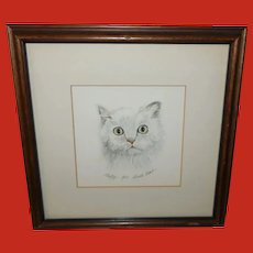 Gerald Lubeck Numbered Lithograph Fluffy the Cat