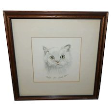 Gerald Lubeck Signed and Numbered Lithograph Fluffy the Cat