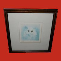 Gerald Lubeck Signed and Numbered Lithograph Muffy the Cat