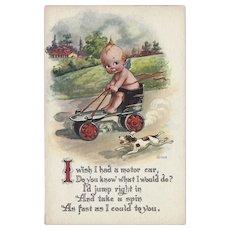 Gartner and Bender Vintage Postcard of Kewpie on Scooter