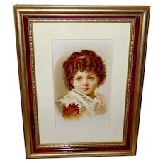 Small Chromolithograph of Dark Haired Girl