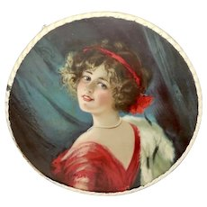 German Chromolithograph Flue Cover of Lovely Dark Haired Lady