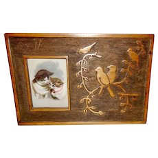 Embossed Birds Standing Wood Frame with Cat Chromolithograph