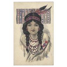 Gartner Bender Hand Tinted Indian Maiden Postcard