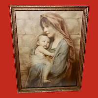 Vintage Photo Print of Mother and Child
