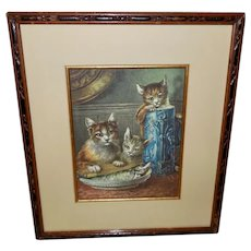 Chromolithograph of Three Cats with Fish