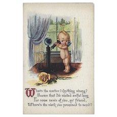 Gartner and Bender Vintage Postcard of Kewpie On Old Phone