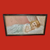 Chromolithograph of Young Blonde Girl in Bed