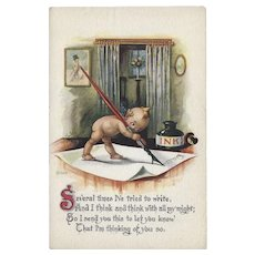 Gartner and Bender Vintage Postcard of Kewpie Writing Letter