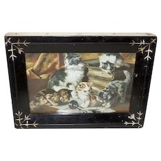 Tiny Eastlake Frame with Vintage Print of Cats and Kittens