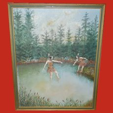 Vintage Painting of Two Indian Maidens Near Water