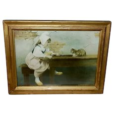 Vintage 1900 Print of Girl Making Friends With Kitten