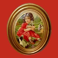 Embossed Chromolithograph Die Cut of Girl with Dog and Basket of Kittens