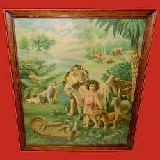 Large Chromolithograph of Child with Wild Animals