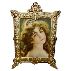 Chromolithograph of Beautiful Brunette in Cast Metal Frame