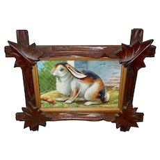 Small Embossed Chromolithograph of Rabbit in Adirondack Wood Frame