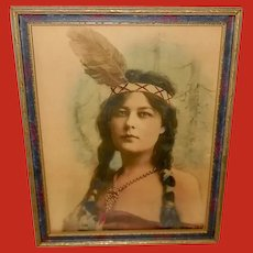 Vintage Hand Tinted Photo of Indian Maiden