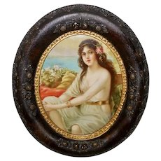 Chromolithograph of Lady Near Water Oval Acorn Frame