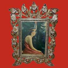Vintage James Arthur Indian Maiden in Metal Leaf Design Frame