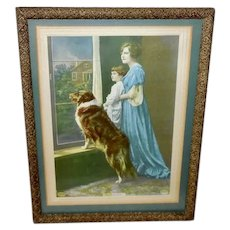 Vintage Print of Mother, Daughter and Collie From Beatrice Tonnesen Photo