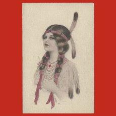 Vintage Tinted Indian Maiden Postcard