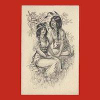 Vintage Gartner Bender Postcard Indian Maiden and Brave