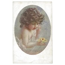 Vintage Italian Postcard of Girl and Butterfly by Guerzoni